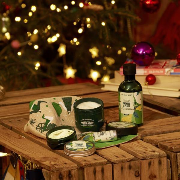 Body Shop Christmas cosmetics in a festive setting